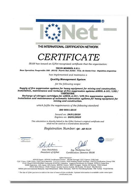 Tecin Mineria Certificado de Calidad IQNET