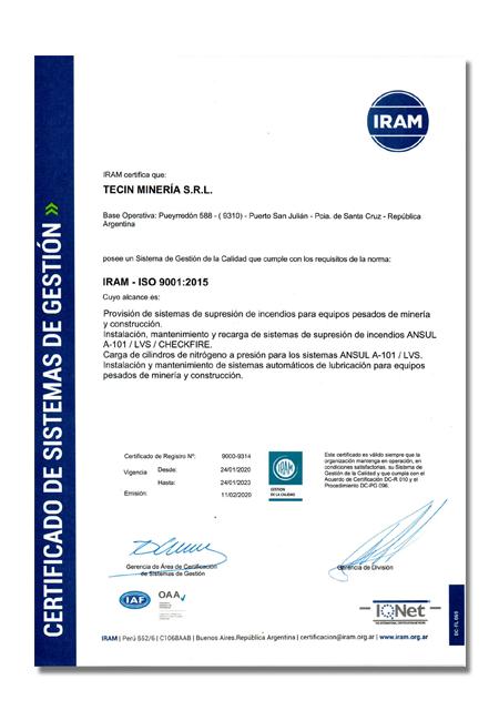 Tecin Mineria Certificado de Calidad IRAM